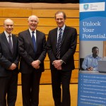 Professor Keith Glaister and Professor Adrian Hopgood welcome Sir Roger Bone