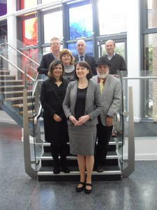 Back row (l-r): Professor Phil Johnson, Professor John Cullen and Professor Geoffrey Wood; Middle Row (l-r): Dr Juliana Meira, Dr Debby Bonnin and Prof Luiz Miranda; Front: Principal Investigator Professor Pauline Dibben